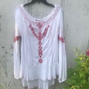 Free People Embroidered Gauze White Boho top LG🌹